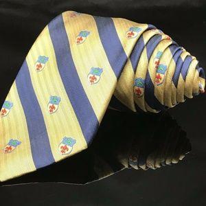 Robert Talbott Emblem fleur de lis Yellow Blue Str
